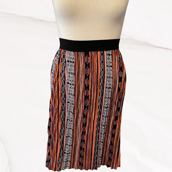 LuLaRoe Jill Midi Pleated Skirt Multimedia Print L